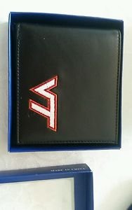 Virginia Tech Hokies Mens Black Leather Bi-fold Wallet