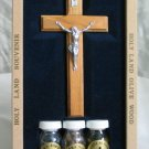 Olive Wood Wall Cross with Crucifix + 3 Bottles Gift Set