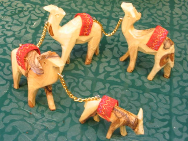 Olive Wood Carved 3 Camel Train and Donkey