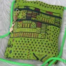 Square - Chenille Lime Green Purse Handbag Tote Sling Bag