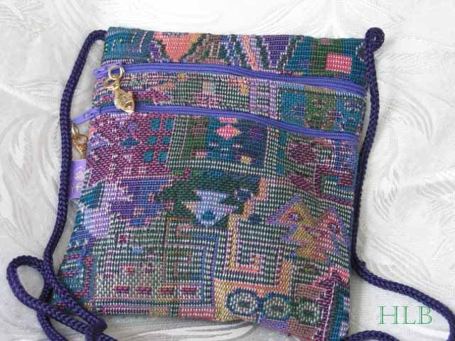 Square - Multi - Colored Purple Purse Handbag Tote Sling Bag