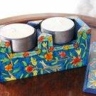 Candlesticks   Emanuel Wood Hand Painted Shabbat Travel 'Birds'