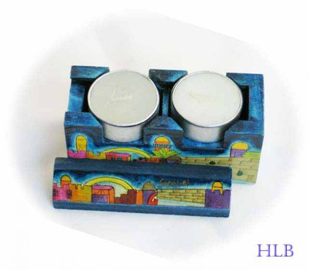Candlesticks  Emanuel Wood Hand Painted Shabbat Travel of the 'Kotel'