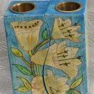 Shabbat Candlesticks   Emanuel Wood Hand Painted  Fitted 'White Flowers'