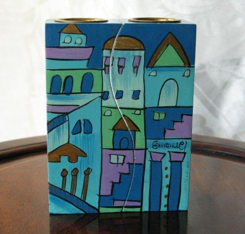 Shabbat Candlesticks  Emanuel Wood Hand Painted Fitted 'Blue Jerusalem'