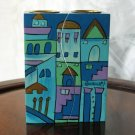 Shabbat Candlesticks  Emanuel Wood Hand Painted Fitted 'Blue Jerusalem'