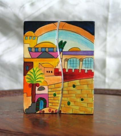 Shabbat Candlesticks   Emanuel Wood Hand Painted Fitted 'City of Jerusalem'
