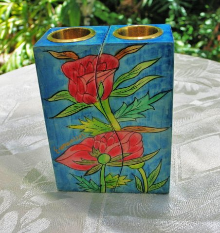 Shabbat Candlesticks  Emanuel Wood Hand Painted Fitted 'Roses'