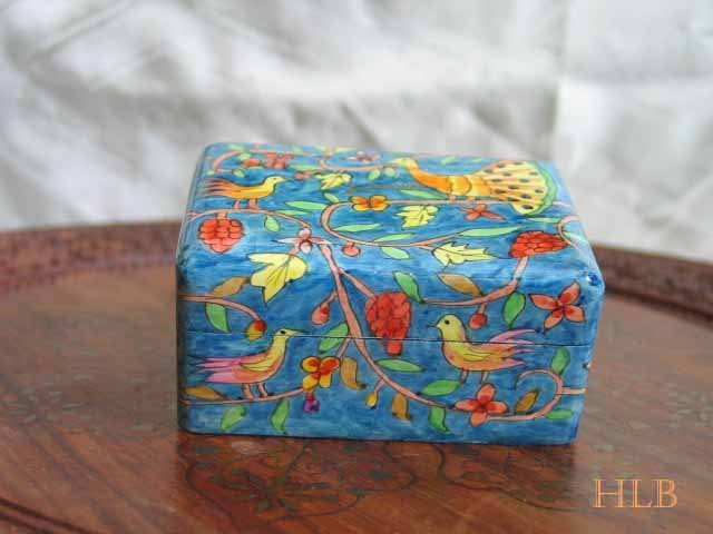 Jewelry Box  Emanuel Wood Hand Painted Small  'Peacocks'