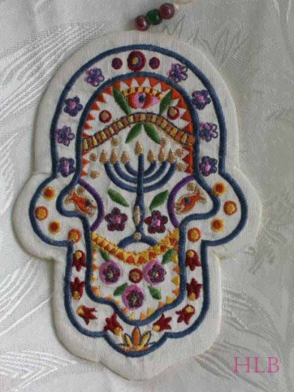 Hamsa - Yair Emanuel's  Embroidered Fabric Wall  'Symbolic'