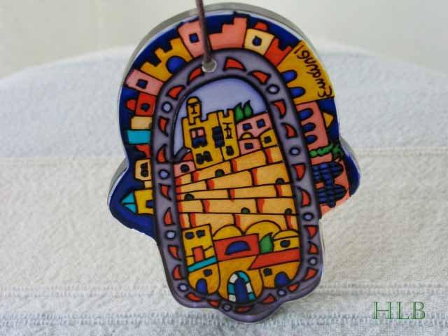 Hamsa - Yair Emanuel's  Glass Hand Painted Small  'Jerusalem'