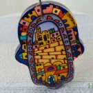 Hamsa - Yair Emanuel's  Glass Hand Painted Small  'Jerusalem'