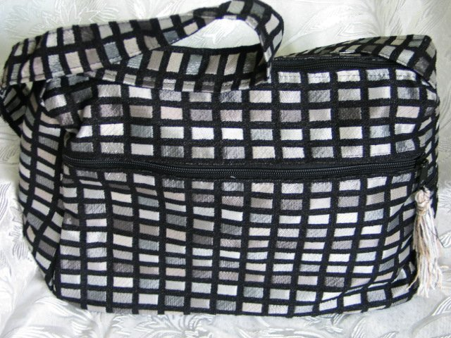 Nava -  Elegant Woven Black/Silver  Fabric 4 Pockets Shoulder Handbag