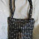 Asil -  Ethnic Woven Black / Silver Gray Checked Shoulder Tote / Handbag