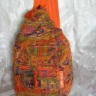 Backpack - Ethnic Fabric Orange / Multi-Color Woven Tote / Shoulder Bag