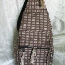 Backpack - Ethnic Fabric Brown Tan / Checked Woven Tote / Shoulder Bag