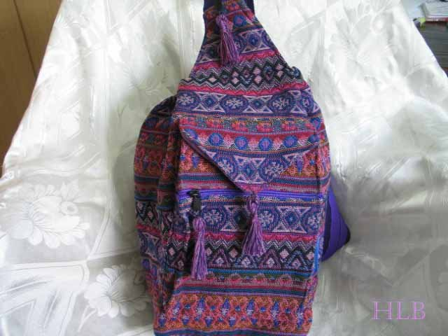 Backpack - Ethnic Fabric Purple / Multi-Color Woven Tote / Shoulder Bag M4