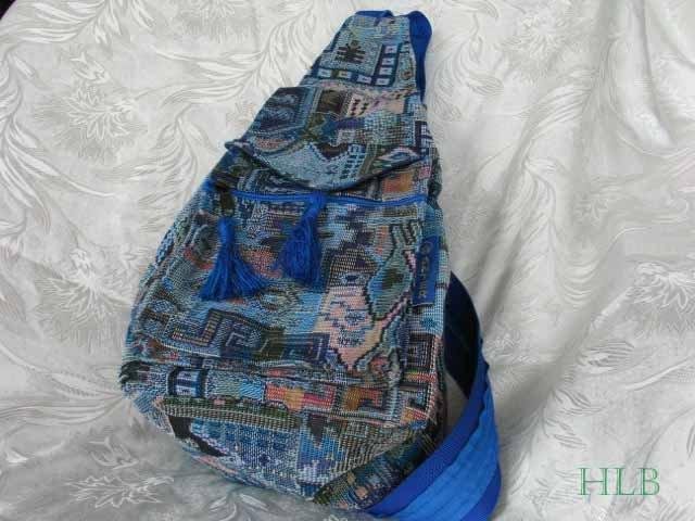 Backpack - Ethnic Fabric Light Blue / Multi-Color Woven Tote / Shoulder Bag