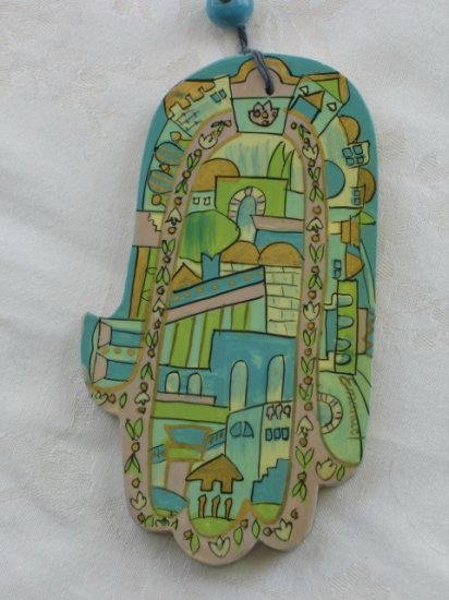 Wood Hamsa Emanuel Hand Painted Wall Decor  'Pastel Jerusalem'