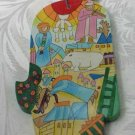Wood Hamsa Emanuel Hand Painted Wall Decor  'Dreamscape'
