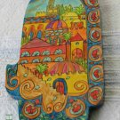 Wood Hamsa Emanuel Hand Painted Wall Decor  'Oriental Jerusalem'