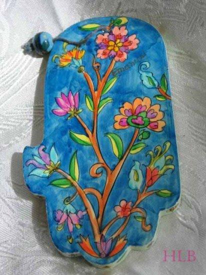 Wood Hamsa Emanuel Hand Painted Wall Decor  'Wild Flowers'