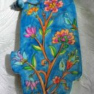 Wood Hamsa Emanuel Hand Painted Wall Decor  'Wild Flowers'
