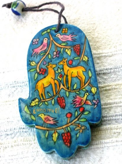 Wood Hamsa Emanuel Hand Painted Wall Decor  'Wild Life'