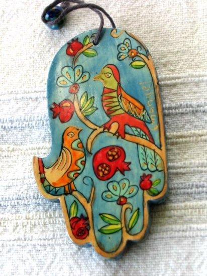 Wood Hamsa Emanuel Hand Painted Wall Decor  'Exotic Birds'