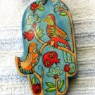 Wood Hamsa Emanuel Hand Painted Wall Decor  'Exotic Birds'