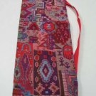 Shofar Bag  Ethnic Woven Fabric Red Medium Size -- D21