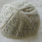 Kippa Hand Embroidered Emanuel Silver & White Dove of Peace -- YAE9