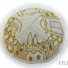 Kippa Hand Embroidered Emanuel Gold and White Jerusalem -- YAE7