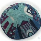 Kippa Hand Embroidered Emanuel Blue Jerusalem -- YAE6