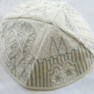 Kippa Hand Embroidered Emanuel  Silver & White  Jerusalem -- YAE2