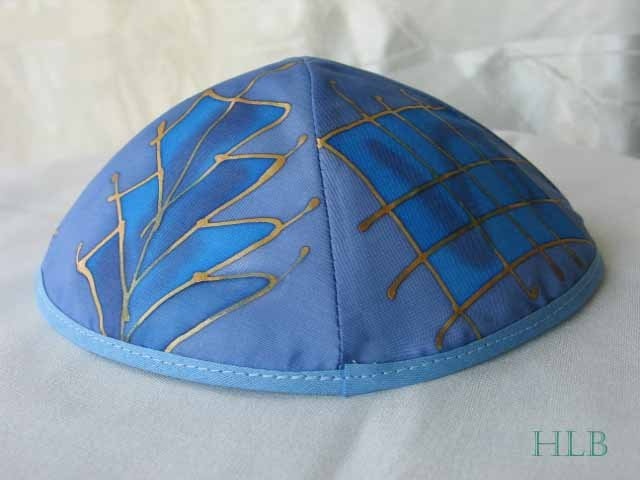 Kippa Emanuel Hand Painted Silk Multi-Color Blue -- YAS1
