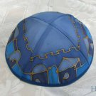 Kippa Emanuel Hand Painted Silk Multi-Color Blue -- YAS7