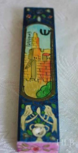 Mezuzah Emanuel Wood Small  Hand Painted Jerusalem Towers-- MZS5