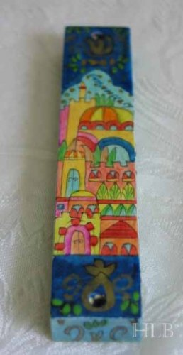 Mezuzah Emanuel Wood Small  Hand Painted Oriental Jerusalem -- MZS17