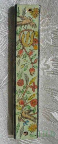 Mezuzah Emanuel Wood Large  Hand Painted Birds & Pomegranates -- MZL5