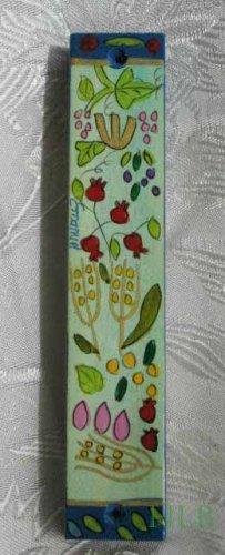 Mezuzah Emanuel Wood Large  Hand Painted Seven Species -- MZL6