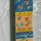 Mezuzah Emanuel Wood Large  Hand Painted Whimsical Flowers -- MZL19