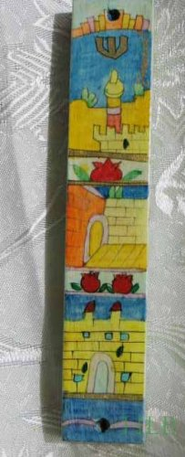 Mezuzah Emanuel Wood Large  Hand Painted Jerusalem Arches and Walls -- MZL20