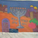 Challah Cover Emanuel Hand Painted Silk Jerusalem Menorah-- CSY3