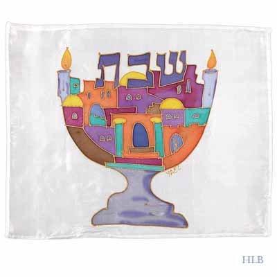 Challah Cover Emanuel Hand Painted Silk Shabbat Menorah-- CSY4