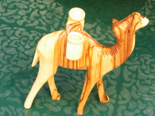 Camel Carved Olive Wood With Jugs