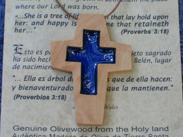 6 Olive Wood Cross Pendants With Acrylic Cross Inlay