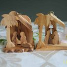 2 Olive Wood Nativity Tree Ornaments with Lamb and Star