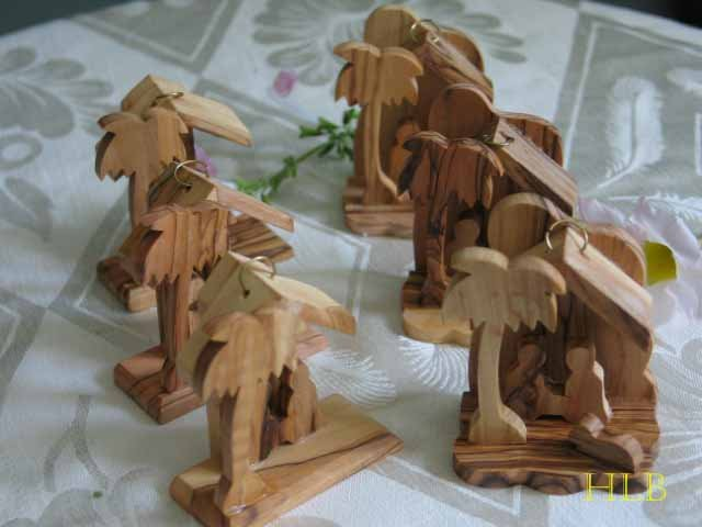 6 Olive Wood Nativity Tree Ornaments with  3 Star Background and 3 Lamb Foreground