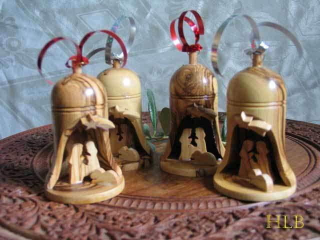 4  Olive Wood Bells With Nativity Scene -  Large Size